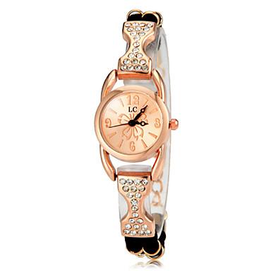 povoljno Ženski satovi-Žene Luxury Watches Casual sat Narukvica Pogledajte Kvarc Pozlata od crvenog zlata Crna / Bijela / Ljubičasta imitacija Diamond Analog dame Elegantno - Crn Crvena Rose
