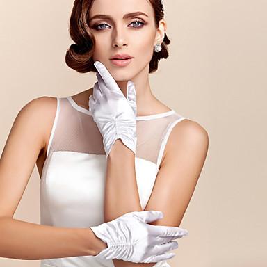preiswerte Handschuhe für die Party-Satin / Polyester Handgelenk-Länge Handschuh Klassisch / Brauthandschuhe / Party / Abendhandschuhe Mit Einfarbig