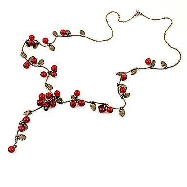 levne Dámské šperky-Dámské Červená Cora Řetízky Třešňová Ovoce dámy Módní Akrylát Slitina Červená Náhrdelníky Šperky Pro Párty Denní Ležérní