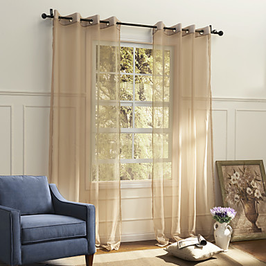 One panel country solid beige bedroom polyester sheer - Beige and white bedroom curtains ...