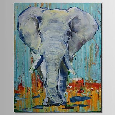 iarts®hand pintado elefante animal de la pintura al óleo con marco ...