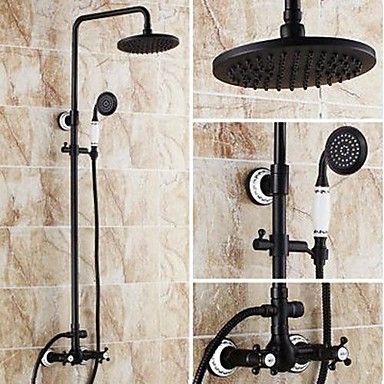 cheap Home & Garden-High Pressure Shower Systerm Set Vintage Antique Oil-rubbed Bronze Tub And Shower Ceramic Valve Bath Shower Mixer Taps / Brass Two Handles Three Holes