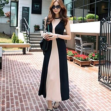 2014 Nyári koreai stílusú fekete és rózsaszín pamut hölgy hosszú ruha  1475679 2019 –  30.44 0889fdb057
