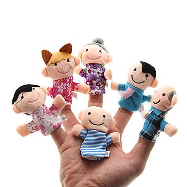 voordelige Marionetten-Familie Vingerpoppetjes Poppen Schattig Noviteit Ouder-kind interactie Pluche Meisjes Speeltjes Geschenk 6 pcs / Familie-interactie