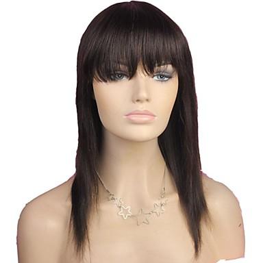 povoljno Perike i ekstenzije-Perika stil Ravan kroj Perika Prirodna linija za kosu Afro-američka perika 100% rađeno rukom Žene Dug Ljudski kose bez kaplama