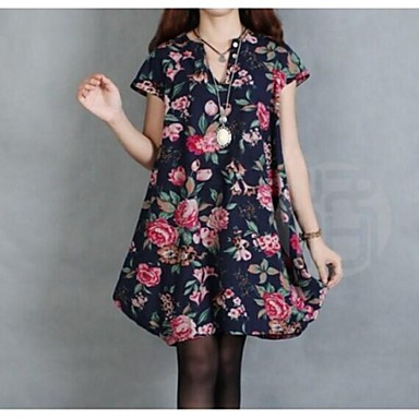 Plus Size Flower Printed Maternity Cotton Dress Loose Style Long