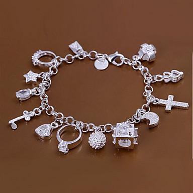 Dam Kubisk Zirkoniumoxid Kedje & Länk Armband Pärlarmband Personlig Zircon Armband Smycken Silver Till Dagligen / Försilvrad