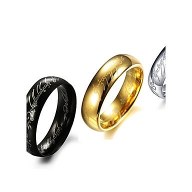voordelige Herensieraden-Heren Bandring Zwart Zilver Gouden Titanium Staal Cirkelvorm Gepersonaliseerde Bruiloft Feest Sieraden Goedkoop