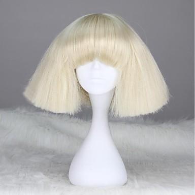 Syntetiske parykker Lige Kinky Glat Kinky Glat Ret Med bangs / pandehår Paryk Blond Kort Hvid Syntetisk hår 12 inch Dame Med Bangs Blond