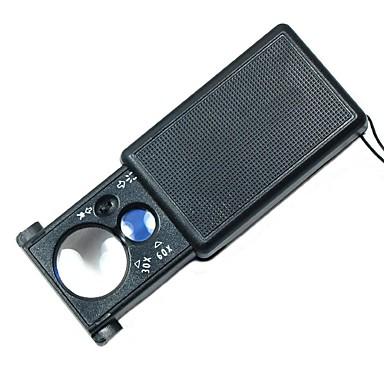 billige Test-, måle- og inspeksjonsverktøy-30x / 60x multipurpose pullout typen forstørrelsesglass med hvitt LED lys og lilla valuta deteksjon lys