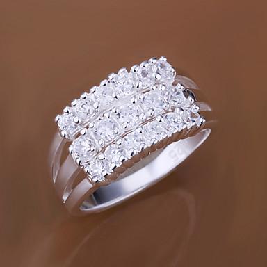 Dam Statement Ring Kubisk Zirkoniumoxid Silver Mässing Zircon Kubisk Zirkoniumoxid Personlig Mode Bröllop Party Smycken / Försilvrad / Försilvrad