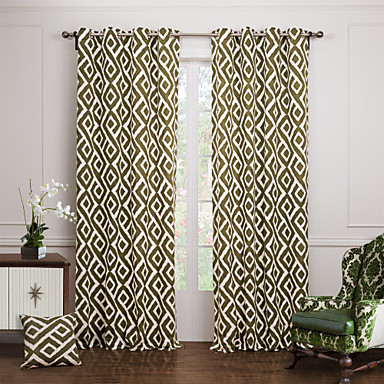 Two Panels Curtain Modern Bedroom Cotton Material Curtains Drapes ...