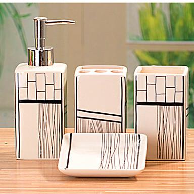baderom tilbehør Baderom tilbehør Set, 4 Piece rektangel Ceramic Bath Ensemble med  baderom tilbehør