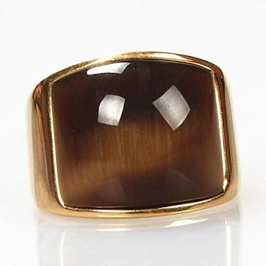voordelige Herensieraden-Heren Statement Ring Synthetische Opaal Cat's Eye Chrysoberyl Gouden Titanium Staal Opaal Vintage Modieus Kerstcadeaus Dagelijks Sieraden