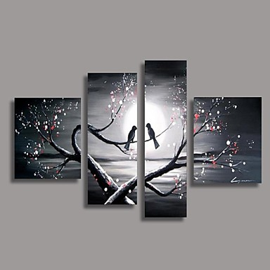 cheap Wall Art-Hand-Painted Oil Painting Bird in the Tree Modern Canvas With Stretched Frame Four Panels