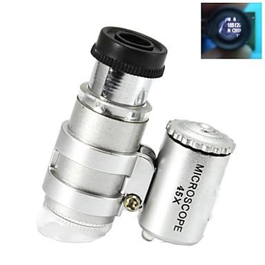 levne Mikroskopy a endoskopy-Super Mini 45X Plastový mikroskop Optické sklo objektivu s 2-LED osvětlovací lampy (3 * LR927)