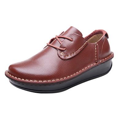 Kényelmes - Lapos - Női cipő - Félcipők - Szabadidős   Irodai   Alkalmi -  Bőr - Fekete   Barna   Vörös 1658207 2019 –  34.99 627b20df5e