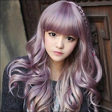 preiswerte Japanische Perücken-Synthetische Perücken Wellen Wellen Mit Pony Perücke Lang Purpur Synthetische Haare 20 Zoll Damen Lila