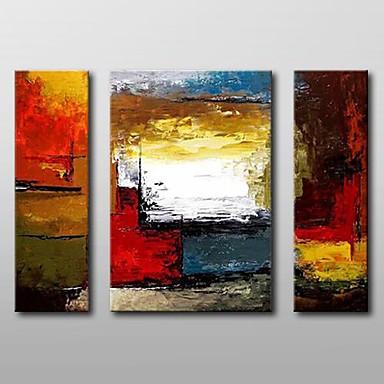 povoljno Ulja na platnu-Hang oslikana uljanim bojama Ručno oslikana - Sažetak Klasik Uključi Unutarnji okvir / Tri plohe / Prošireni platno