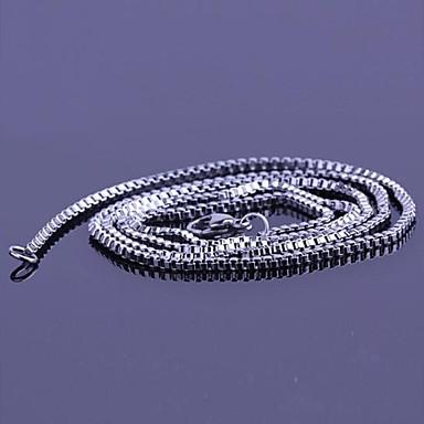 levne Pánské šperky-Pánské Řetízky Dlouhé Levný Jednoduchý Módní Nerez Titanová ocel Stříbrná Náhrdelníky Šperky Pro Dar Denní Ležérní