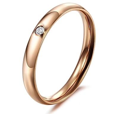billige Engasjement-Dame Band Ring tommelfingerring Syntetisk Diamant Sølv Rose Titanium Stål Gullbelagt damer Mote Bryllup Fest Smykker / Strass