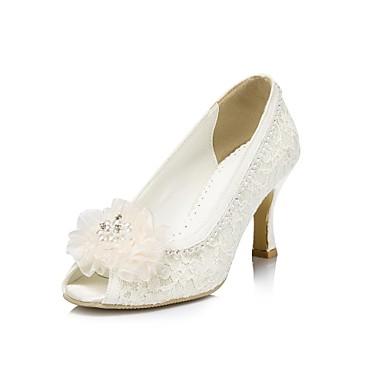 81be7e70d7f Γυναικεία Παπούτσια Σατέν Άνοιξη / Καλοκαίρι / Φθινόπωρο Τακούνι Στιλέτο  Τεχνητό διαμάντι / Λουλούδι Ιβουάρ / Λευκό / Γάμου 1853700 2019 – $54.99