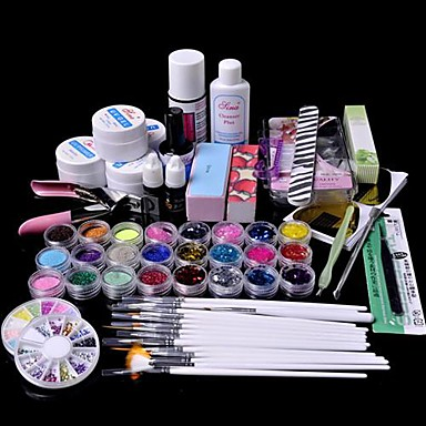 cheap Nail Tools & Equipments-61PCS Glitter UV Gel Cleanser Primer Nail Art Kit Set UV Gel Primer 1 Clear UV gel 14ml UV Top Coat 1 Nail Acrylic Remover 100pcs Nail Tips 15 Brush