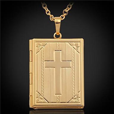 levne Dámské šperky-Dámské Náhrdelníky s přívěšky Plovoucí Locket Haç Přizpůsobeno Kristus Pokovená platina Pozlacené Stříbrná Zlatá Náhrdelníky Šperky Pro Svatební Párty Dar Denní Ležérní