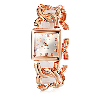 cheap Square & Rectangular Watches-Women's Wrist Watch Gold Watch Square Watch Ladies Stainless Steel Silver / Gold / Rose Gold Analog - Rose Gold Gold Silver / Japanese / Japanese