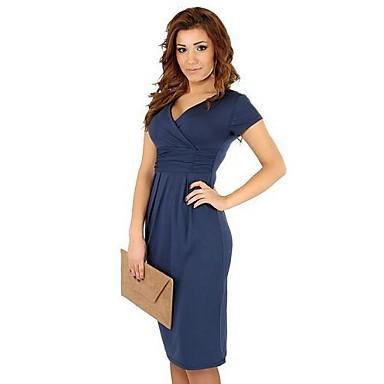 0d1fed0e41 női kék színű / piros / fekete ruha, a munka v nyakú rövid ujjú 1968750  2019 – $18.16