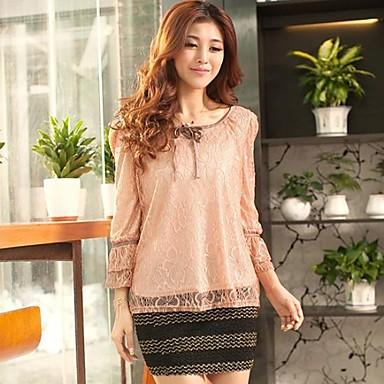 83bce3ecc759c Zian® Women's Round Neck Bandage Lace Stitching Slim Fashion Loose Cropped  Puff Sleeve T-Shirt 1882088 2019 – $36.74