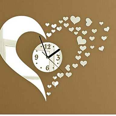 cheap Wall Clocks-Wall Clock Stickers Wall Decals, Fashion 3D Heart Mirror Acrylic Wall Stickers
