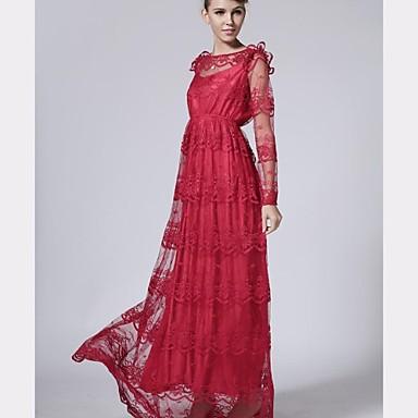 a34082fc3e női retro stílusú csipke horgolt irodalmi átlátszó piros hosszú ujjú maxi  ruha 1910048 2019 – $58.32
