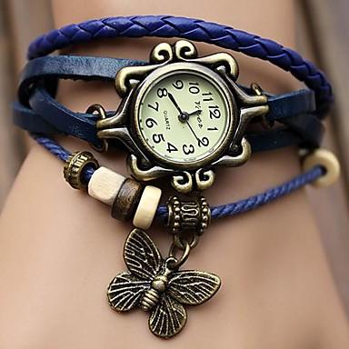 levne Dámské-Dámské Náramkové hodinky hodinky zábalu Křemenný Z umělé kůže Černá / Modrá / Orange Žhavá sleva Analogové dámy Motýl Cikánské Módní Hodinky k šatům - Kávová Zelená Modrá Jeden rok Životnost baterie