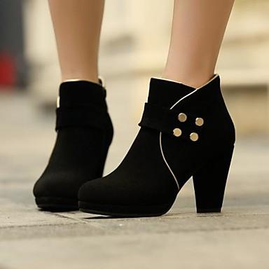 563f0eb80245e Chaussures Femme - Habillé - Noir - Gros Talon - Bout Arrondi - Bottes -  Poils de 2046914 2019 à  59.99