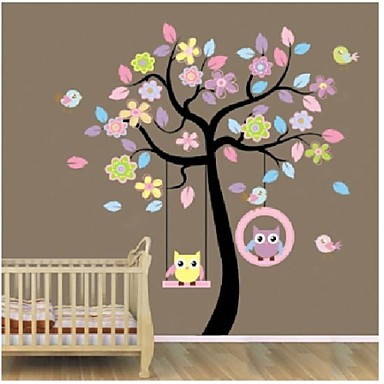 zooyoo®removable colorful tree and owls wall sticker home decor