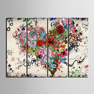 cheap Prints-Print Rolled Canvas Prints - Abstract Floral / Botanical Classic Modern Four Panels Art Prints