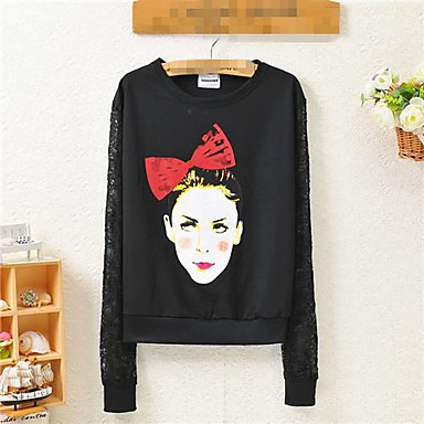 afeb2ec04486 γκράφιτι κεφάλι κορίτσι fleece τυπωμένες μπλούζες δαντέλα μανίκι γυναικών  1921972 2019 –  36.99