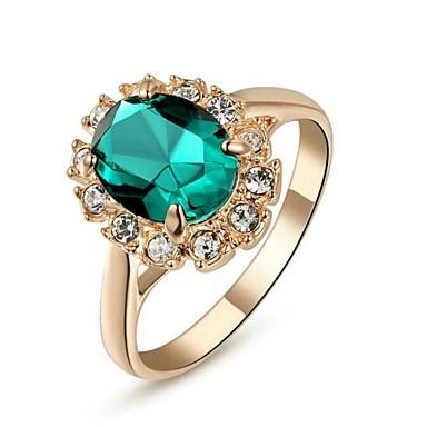 levne Dámské šperky-Dámské Vyzvánění Safír Syntetický smaragd Červená Zelená Modrá Křišťál Pozlacené Umělé diamanty dámy Klasické Svatební Párty Šperky Solitaire Oval simulované Koktejl prsten / Zirkon