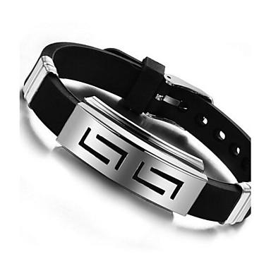 levne Dámské šperky-Pánské ID náramek Přizpůsobeno Jedinečný design Silikon Náramek šperky Černá Pro Denní Ležérní / Titanová ocel