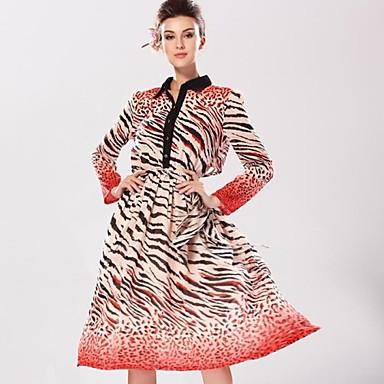 c722d76490 Women s Shirt Collar Long Sleeved Leopard Print Chiffon Maxi Dress 1909633  2019 –  43.73