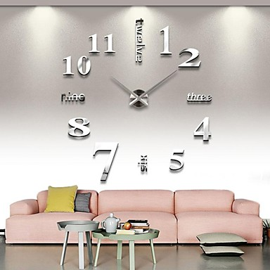 cheap Home Decor-Frameless Large DIY Wall Clock, Modern 3D Wall Clock with Mirror Numbers Stickers for Home Office Decorations Gift (Silver)