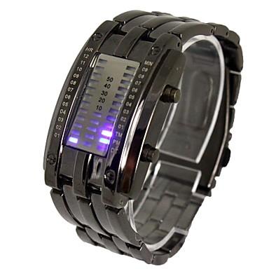 3dff3cf29ac Homens Relógio de Pulso Digital Calendário LED Aço Inoxidável Banda Amuleto  Preta Prata de 2022711 2019 por  13.99