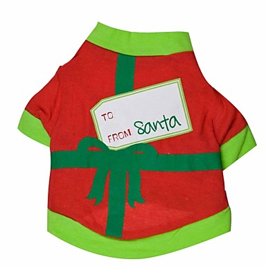 cheap Dog Clothes-Cat Dog Shirt / T-Shirt Christmas Dog Clothes Breathable Black Green Costume Cotton XS S M L