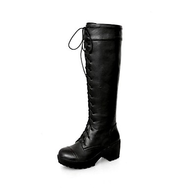 Women's Shoes Platform Round Toe Chunky Heel Knee High Boots with Lace-up  More Colors available 2136120 2018 – $32.99