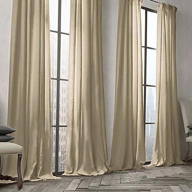 dos paneles ventana tratamiento moderna slido sala de estar mezcla de lino y algodn material cortinas cortinas decoracin hogareafor 2106834 2018 - Cortinas Lino