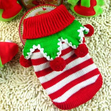 cheap Dog Clothes-Dog Sweater Cosplay Christmas Winter Dog Clothes White / Red Green / Red White / Green Costume Mixed Material XXS XS S M L