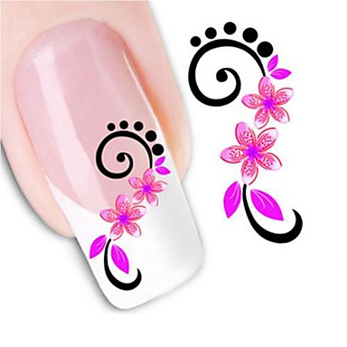 1 pcs 3D Nail Stickers Water Transfer Sticker nail art Manicure Pedicure Flower / Fashion Daily