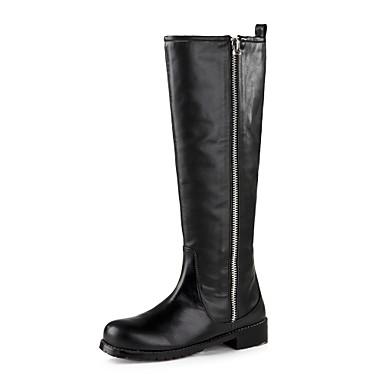 correr zapatos amplia selección de diseños encanto de costo [$59.49] zapatos de mujer tacón bajo la rodilla botas altas de cuero del  dedo del pie redondo
