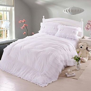romantisk seng fadfay @ koreanske hvide blonder flæser sengetøj sæt romantisk  romantisk seng